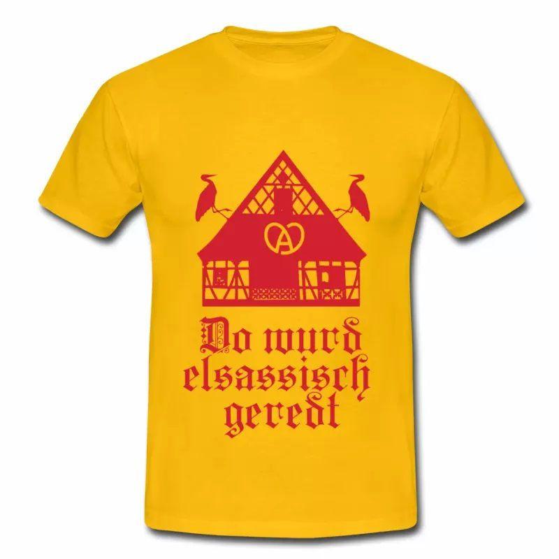 T Shirt Alsace jaune homme Drapeau Alsacien