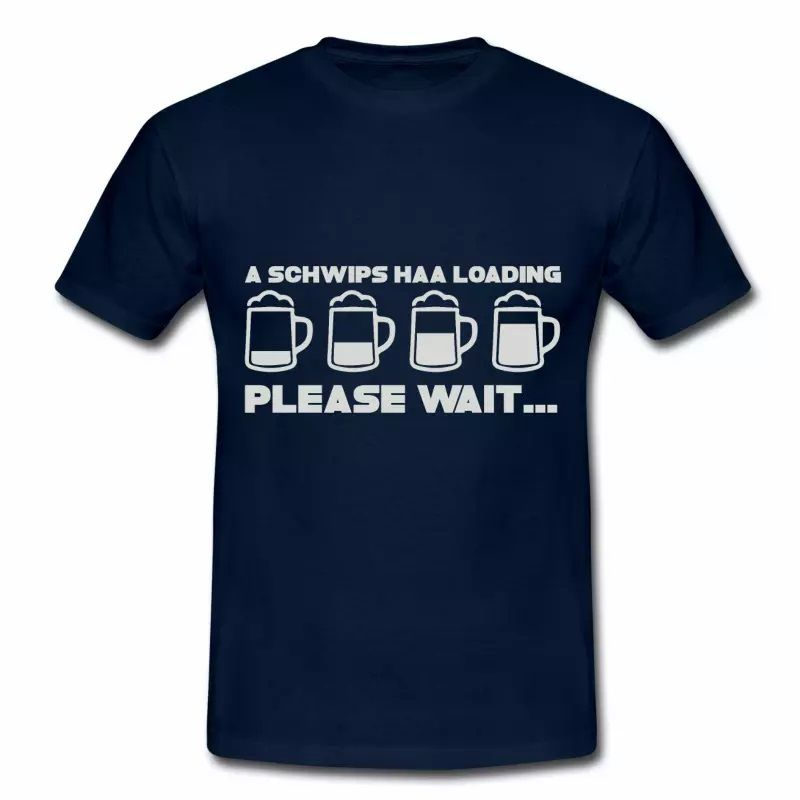 T shirt bleu m homme Humour Alsace Beer Please Wait