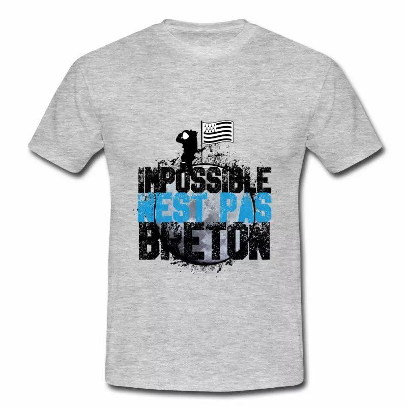 T shirt gris c pour hommes impossible n'est pas Breton