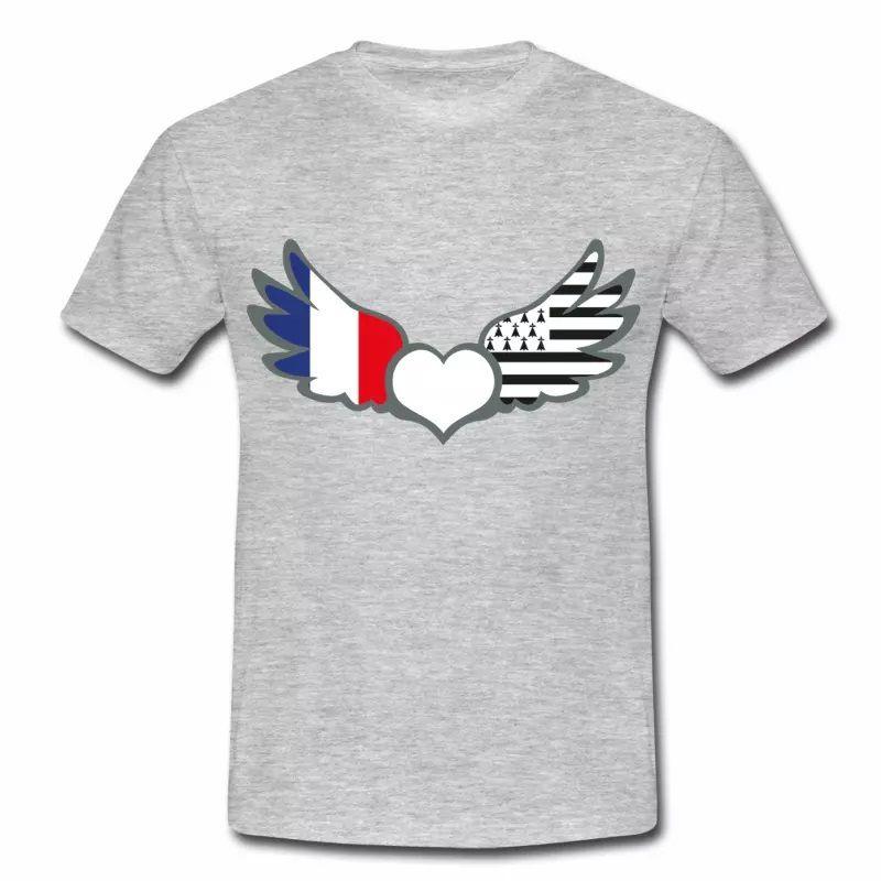T-shirt Drapeaux France & Bretagne. Fier d'être Français & Breton G