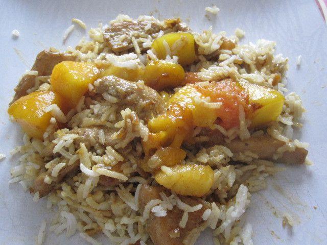 Poulet thaï à la mangue et son riz