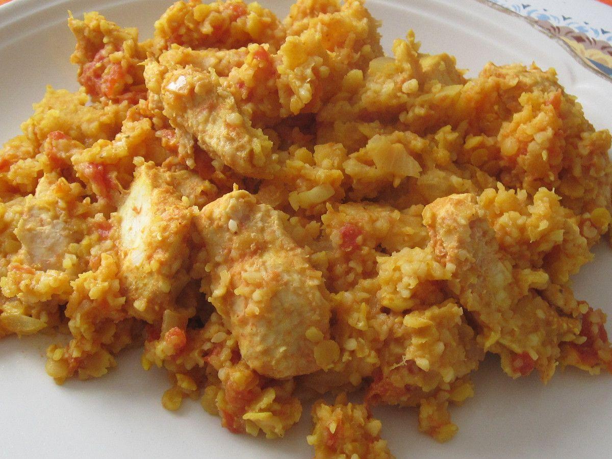 Lentilles corail /boulgour à l'indienne et au poulet