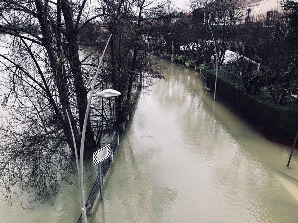 Inondation Bry le 31 janvier 2018 : Quai Victor Berrière face au Joyau de la Marne