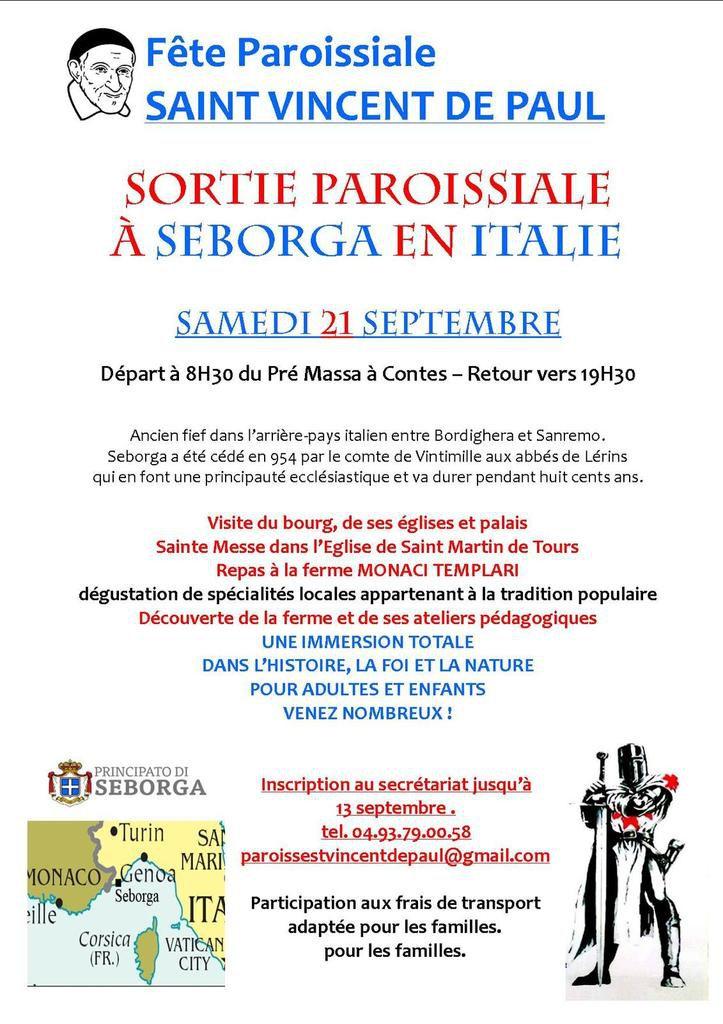 Sortie paroissiale  à Seborga en Italie  Samedi 21 septembre