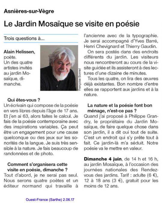 """article paru dans """"Ouest France (Sarthe) le 2 juin 2017"""