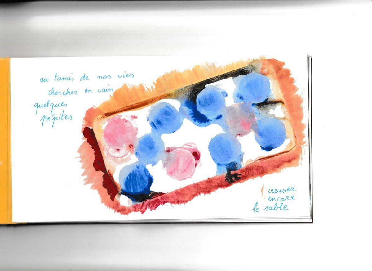 """""""EMPREINTES"""", carnet avec 8 peintures-acrylique d'Alain Helissen"""