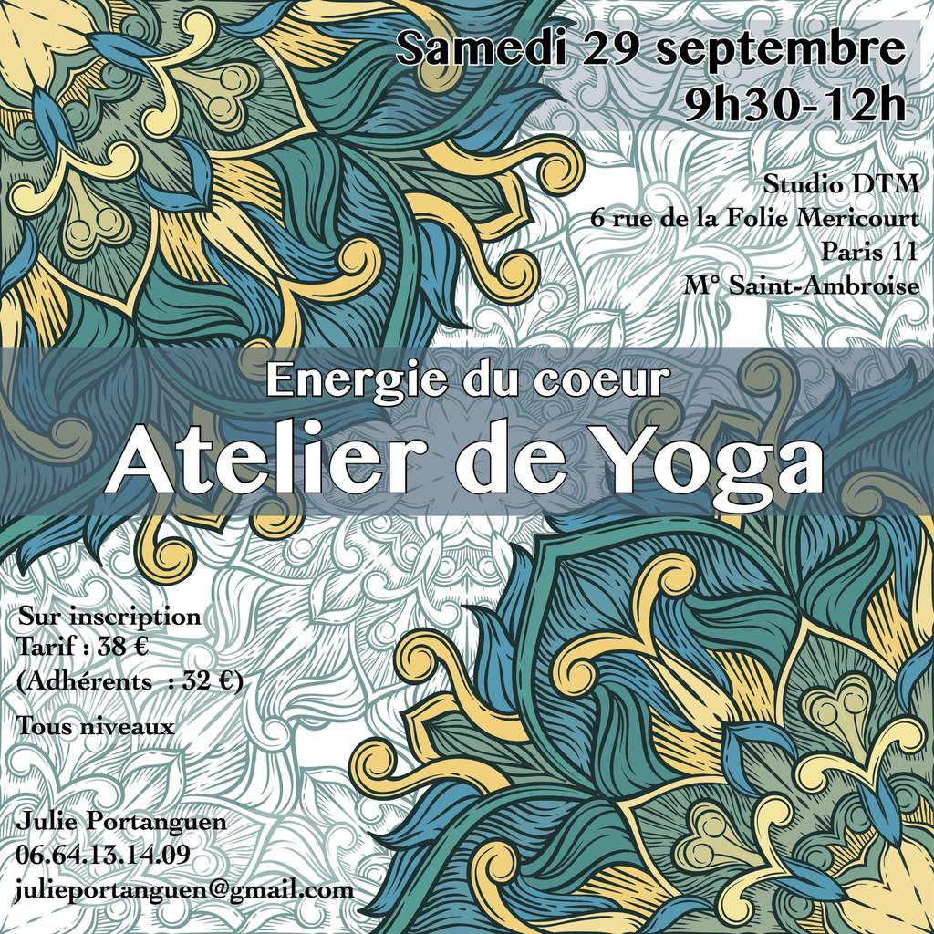 Atelier de yoga 29 septembre 2018 Julie Portanguen Paris 11 Stage de yoga Paris