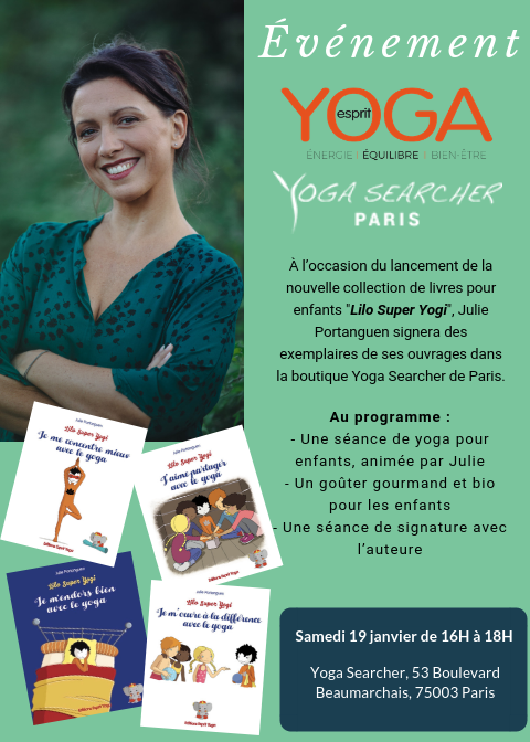 Julie Portanguen présente Lilo Super Yogi chez Yoga Searcher Paris
