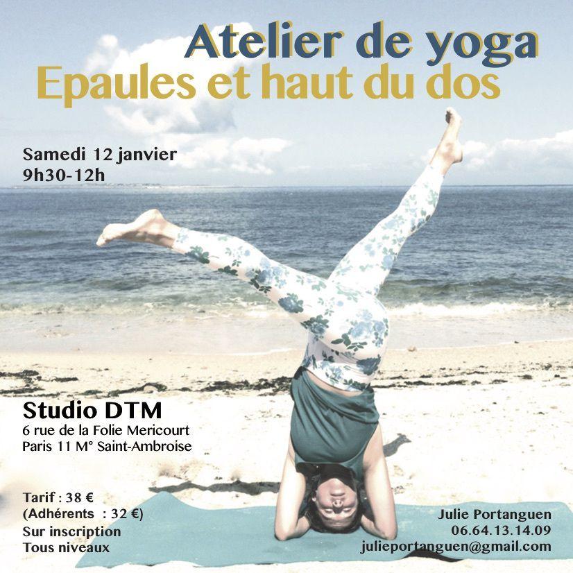 """Atelier de yoga """"Epaules et haut du dos"""" samedi 12 janvier 2019"""