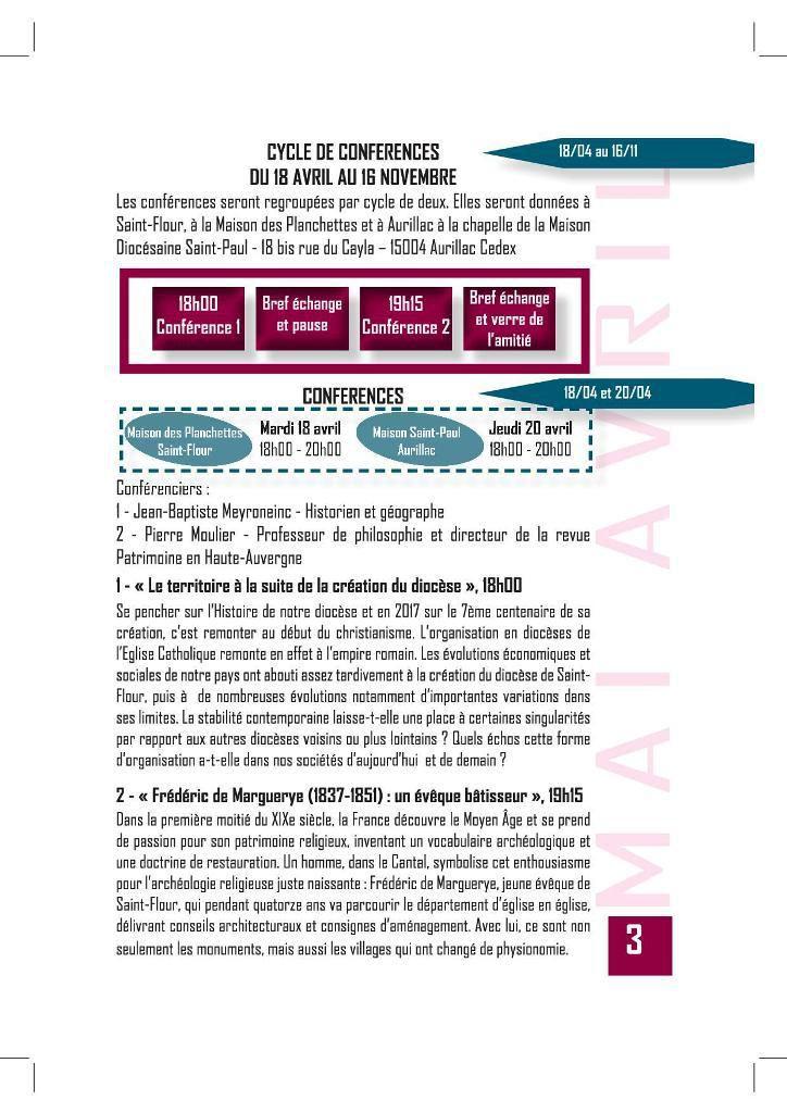 AGENDA DES MANIFESTIONS DU 7ème CENTENAIRE DE LA CREATION DU DIOCESE DE ST FLOUR