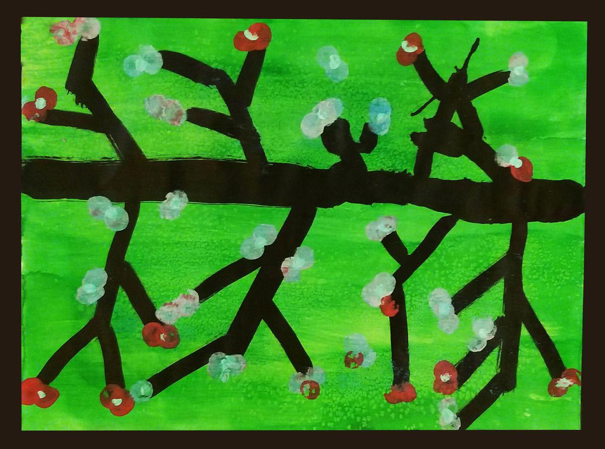 Estampes de cerisiers japonais.