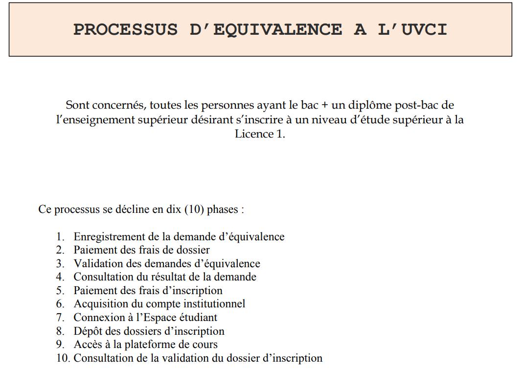 Ouverture des équivalences à l'UVCI du 17 juin au 31 juillet 2019