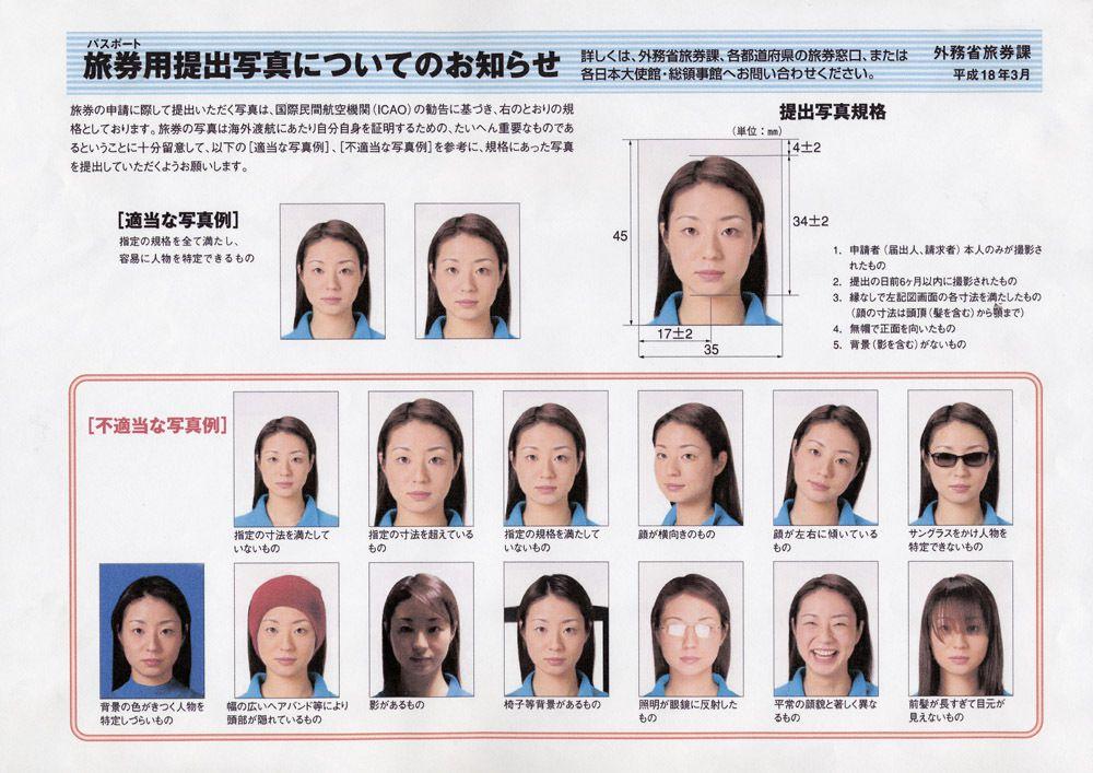 normes photo identite pour le passeport japonais