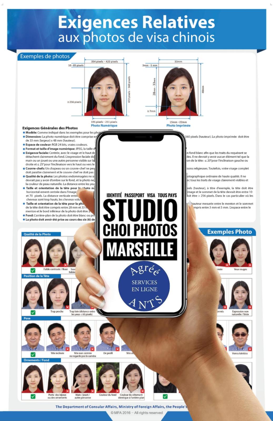 Le Studio Choi Photos est le spécialiste à Marseille de la photo d'identité pour le visa et le passeport pour la Chine
