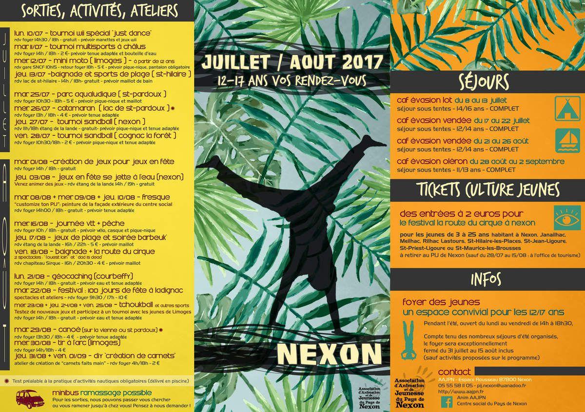 Nexon : 12/17 ans, vos rendez-vous pour l'été 2017