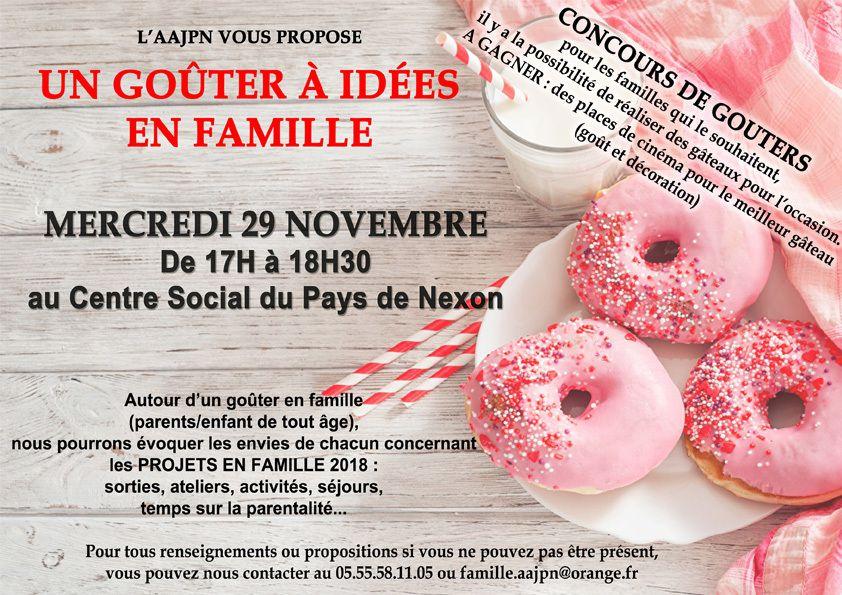 l'idée est de préparer de la saison 2018 pour les PROJETS FAMILLE en répondant au mieux aux envies des familles. On vous propose donc de réfléchir ensemble autour d'un moment convivial.  Nous sommes conscients que la date et le jour ne peuvent pas convenir à tous donc n'hésitez pas à nous transmettre vos idées si vous ne pouvez pas être présents  contacts : Sandrine Cantournet au 05.55.58.11.05 ou famille.aajpn@orange.fr