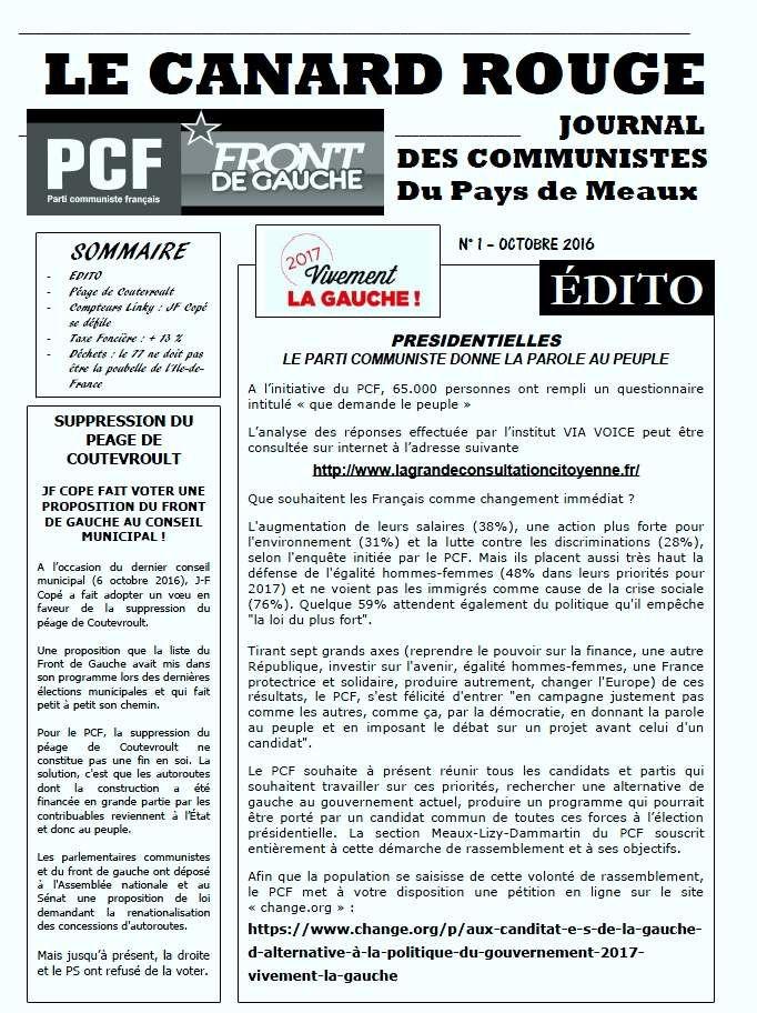 LE CANARD ROUGE : LE JOURNAL DES COMMUNISTES DU PAYS DE MEAUX (N° 1)