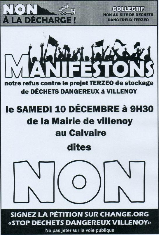SAMEDI 10 DECEMBRE 2016 A 9H30 : CONTRE LE PROJET TERZEO, MANIFESTONS DE LA MAIRIE DE VILLENOY AU CALVAIRE