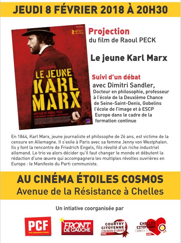 """LE FILM """"LE JEUNE KARL MARX"""" A CHELLES LE JEUDI 8 FEVRIER"""