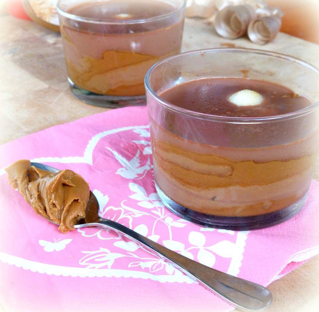 Petits verres crème chocolat-speculoos-poire