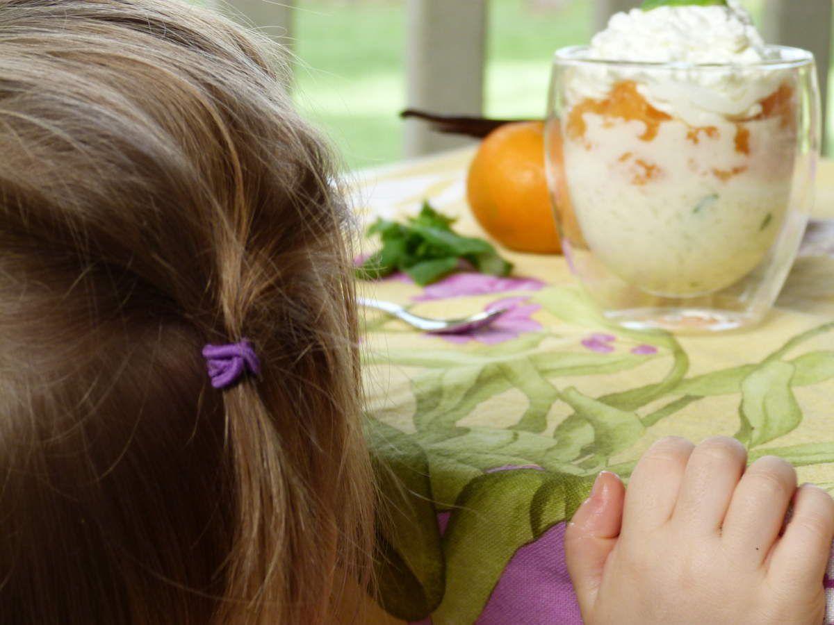 Riz au lait vanille, basilic et clémentines