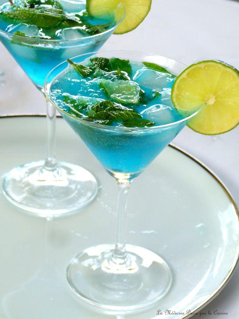 Cocktail bleu tropical pour ce soir