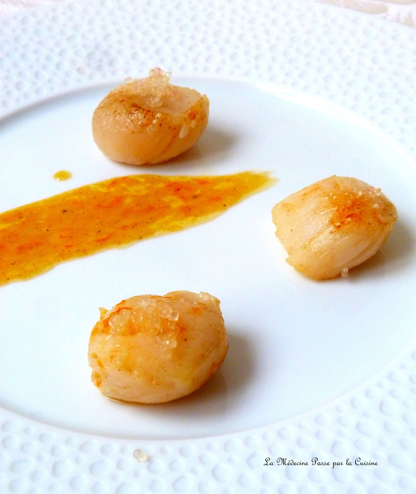 Saint jacques au beurre d'orange et citron caviar