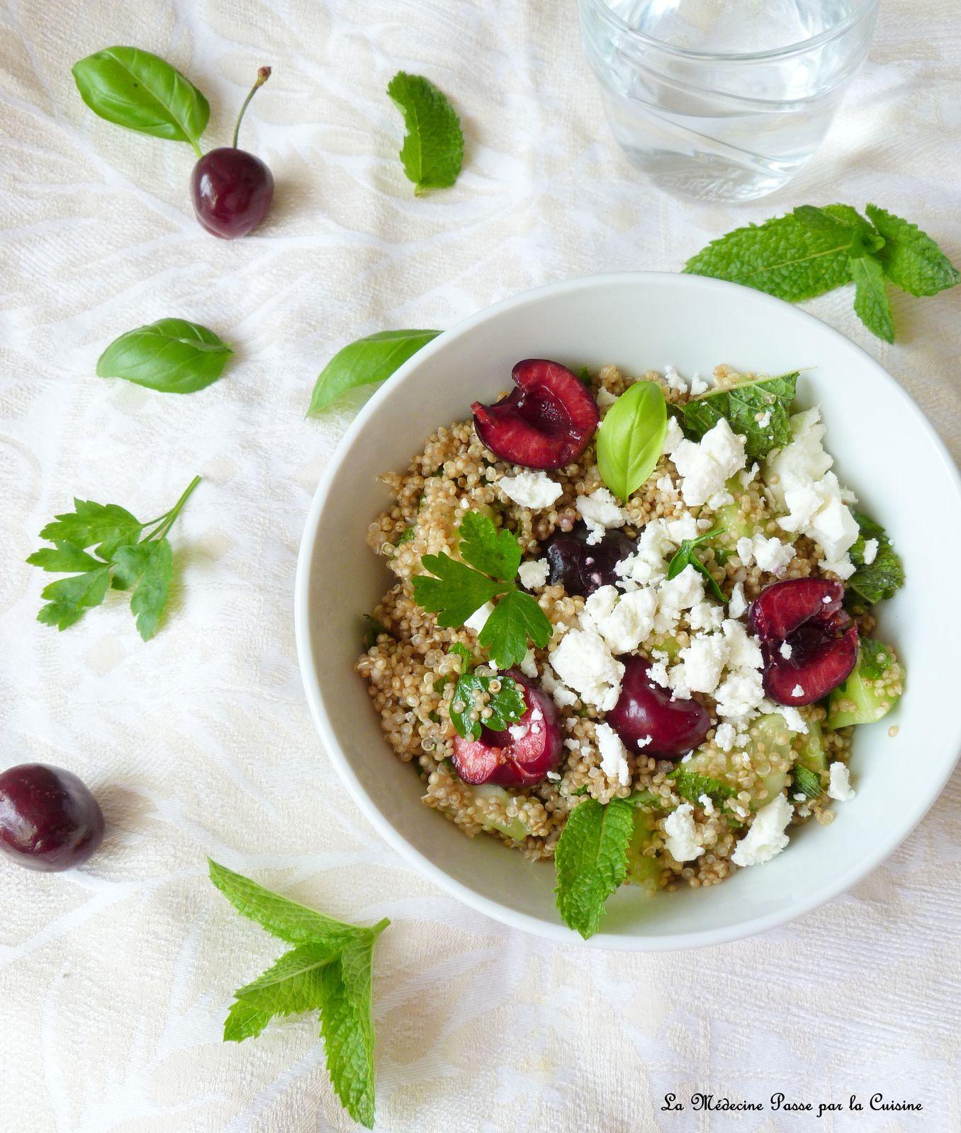 Taboulé de quinoa, concombres, cerises et fêta