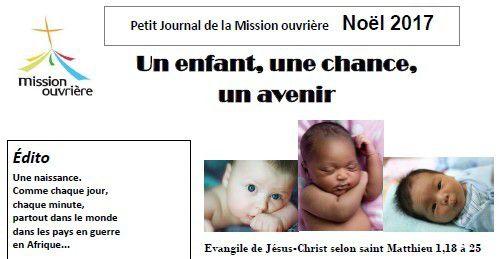 Message de Noël 2017 : Un enfant, une chance, un avenir !