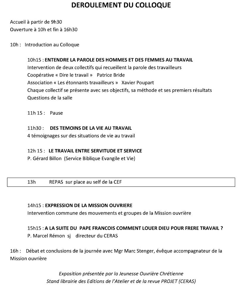 """Colloque """"L'humain au coeur du travail"""", organisé par la Mission Ouvrière, le samedi 17 mars 2018 à la CEF - 58 avenue de Breteuil 75007 PARIS"""