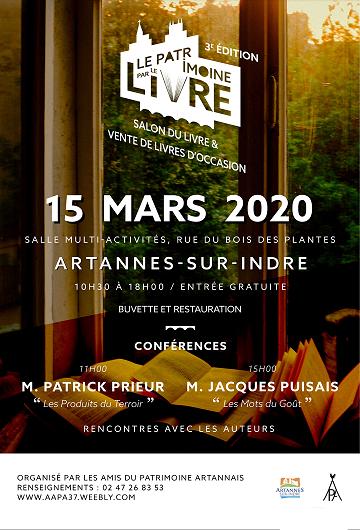SALON DU LIVRE D'ARTANNES-SUR-INDRE LE 15 MARS 2020