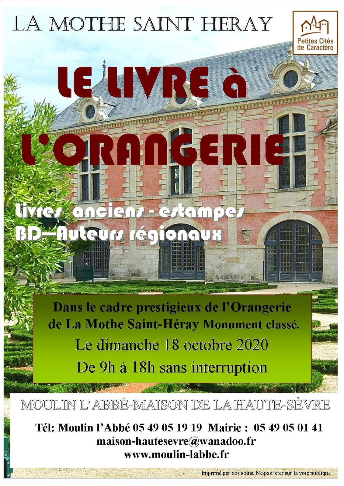 LE LIVRE A L'ORANGERIE , LE 18 OCTOBRE 2020