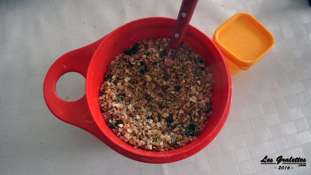 Ingrédients des barres de céréales sésame flocons d'avoine