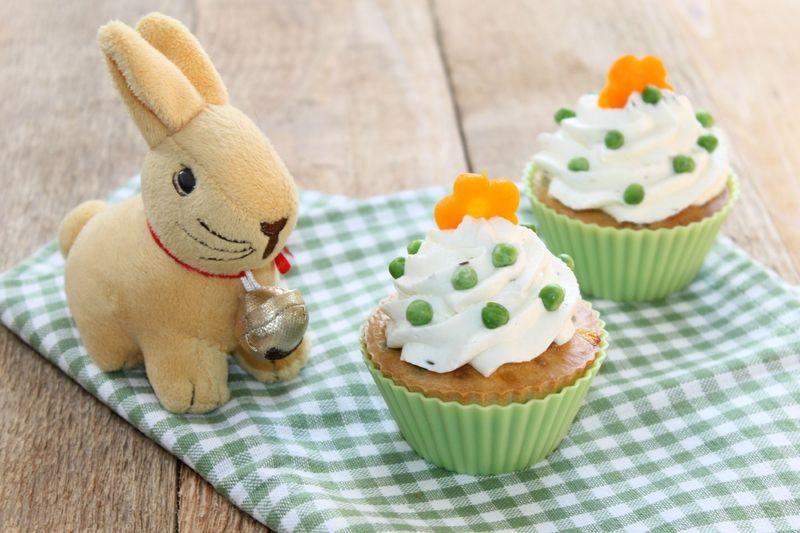 Cupcakes façon petits pois carottes