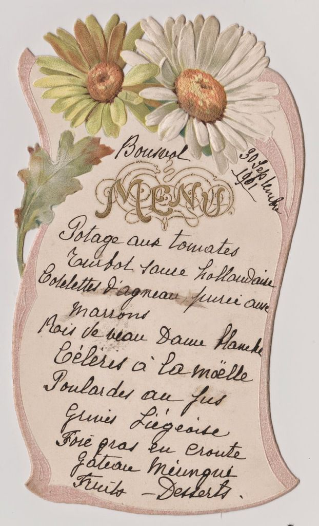 Menu servi le lundi 30 septembre 1901 au château de BOUSVAL (collection D. VANESPEN)