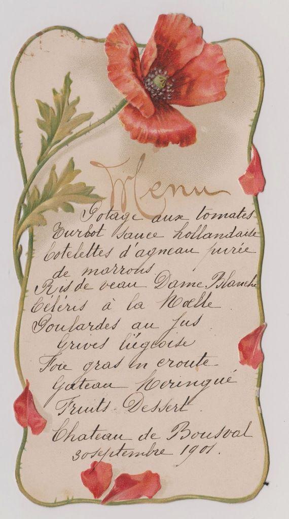 Menu servi le jeudi 30 septembre 1901 au château de BOUSVAL (collection D. VANESPEN)
