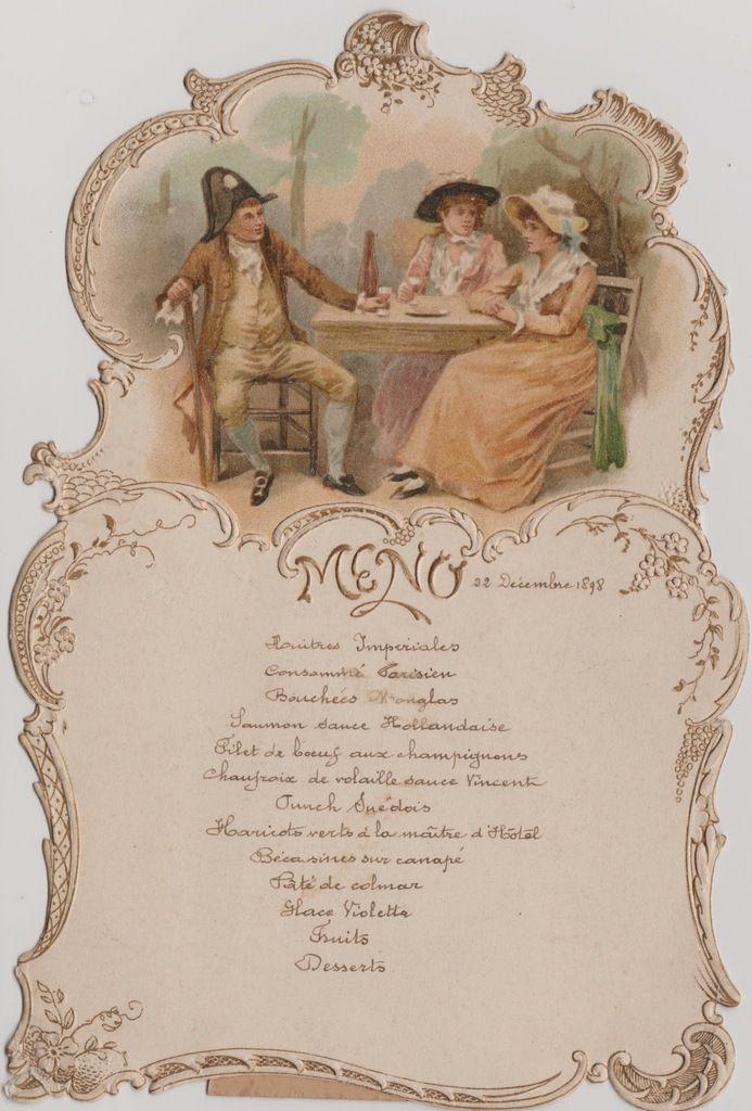 Menu servi le jeudi 22 décembre 1898 au château de BOUSVAL  (collection D. VANESPEN)
