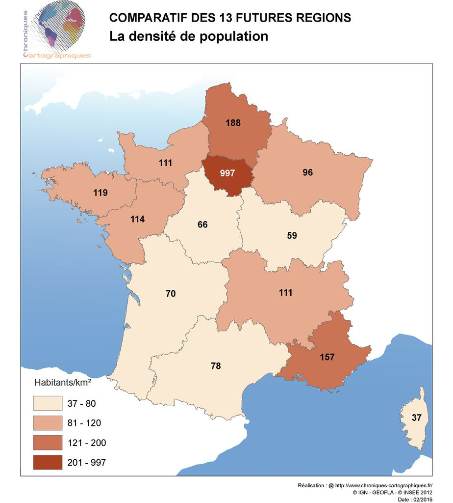 Carte de France densité de population