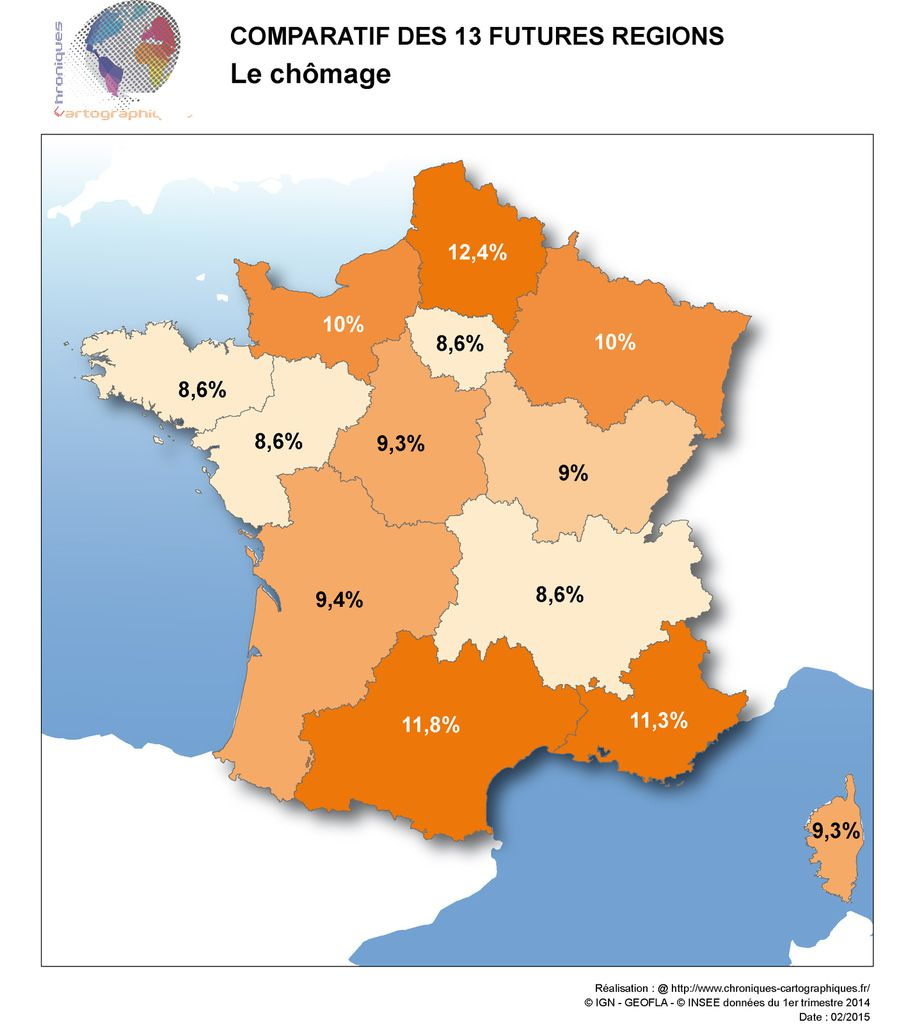 Carte de France du chômage (taux en % de la population active)