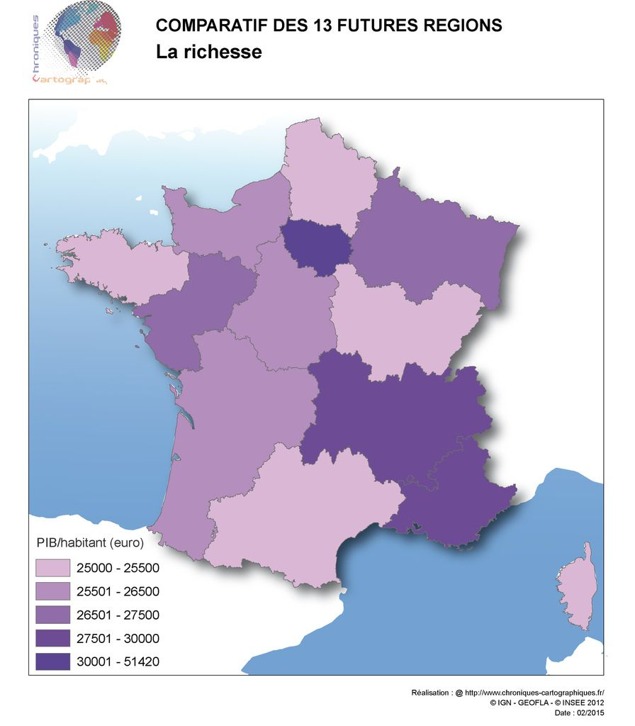 Carte de France PIB par région