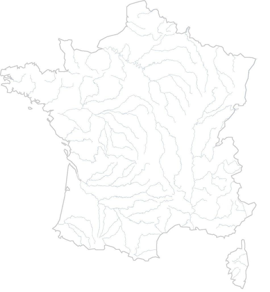 carte de france vierge - fleuves