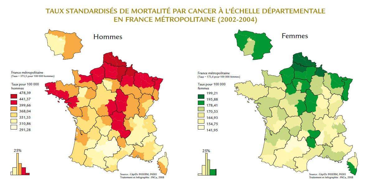 Carte cancer France - taux standardisés