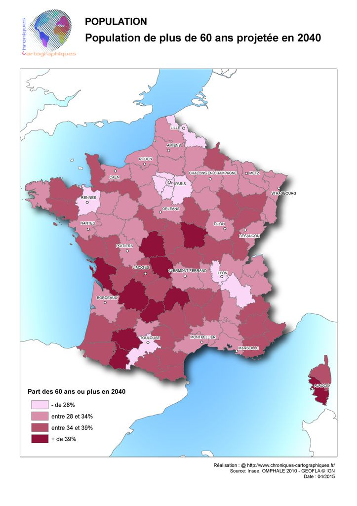 Carte de France de la population des plus de 60 ans en 2040
