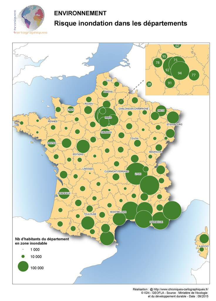 Où se situent les populations en zone inondable en France?