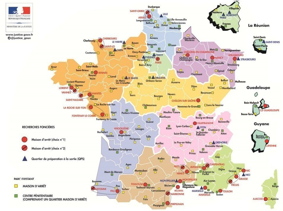 Carte de France des futures prisons