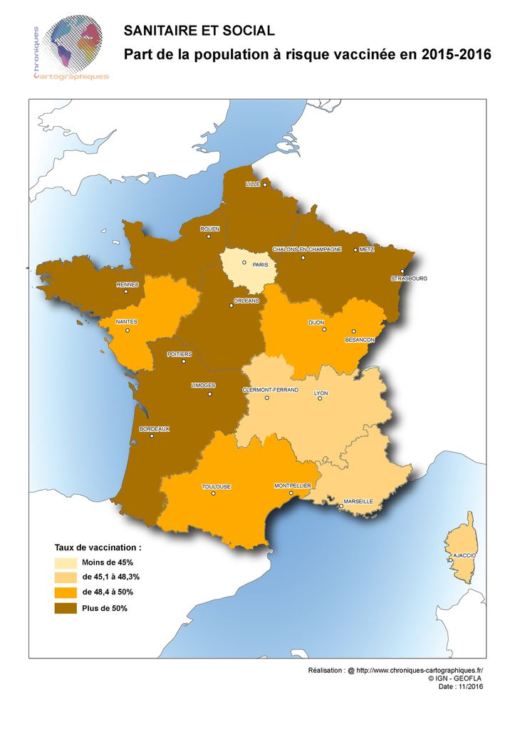Carte de France du taux de vaccination contre la grippe