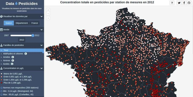Carte Pollution Bordeaux.Carte De France De La Pollution Des Eaux Par Les Pesticides