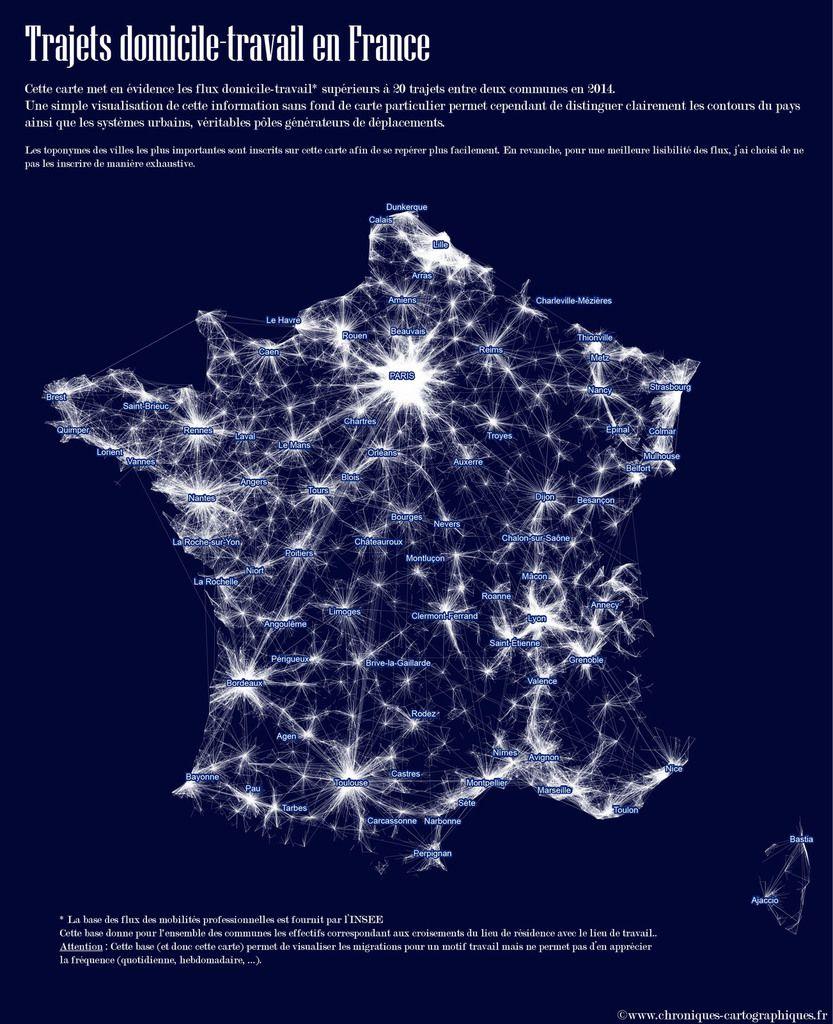 carte des déplacements, flux de transports en france, carte mobilités professionnelles