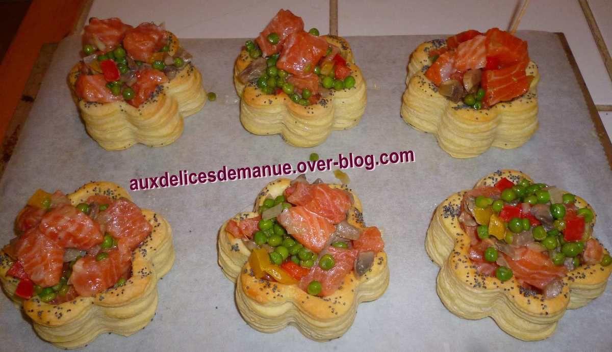 feuilletés au saumon et petits légumes (recette dans poissons et crustacés)