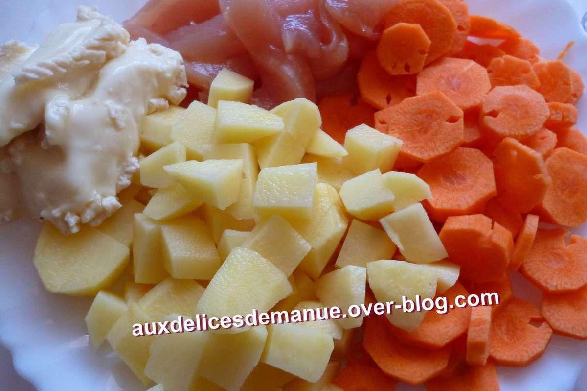 Poulet pommes de terre carottes au camembert